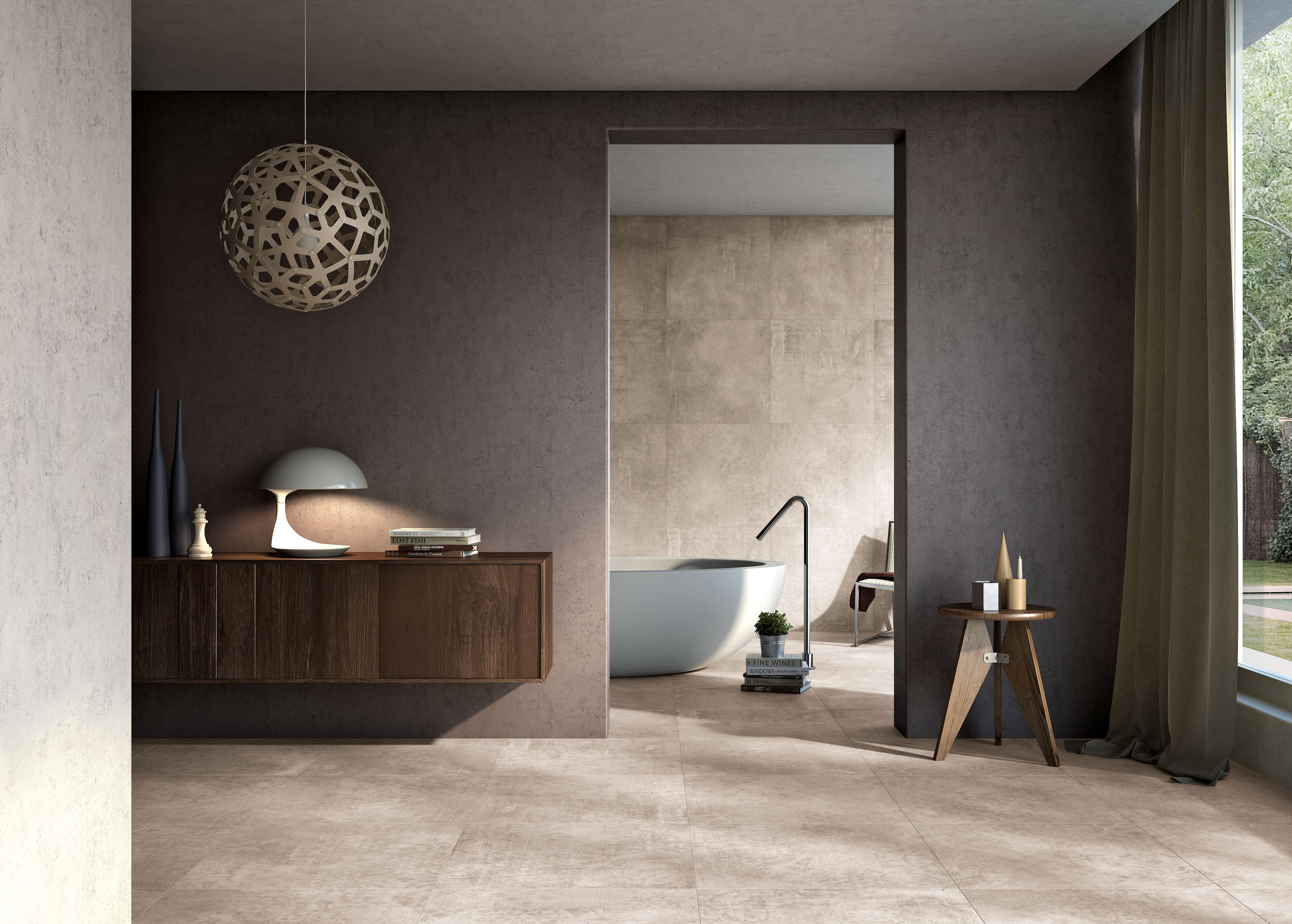 Beige Betonfliesen im Bad, beige concrete effect tiles in the bathroom