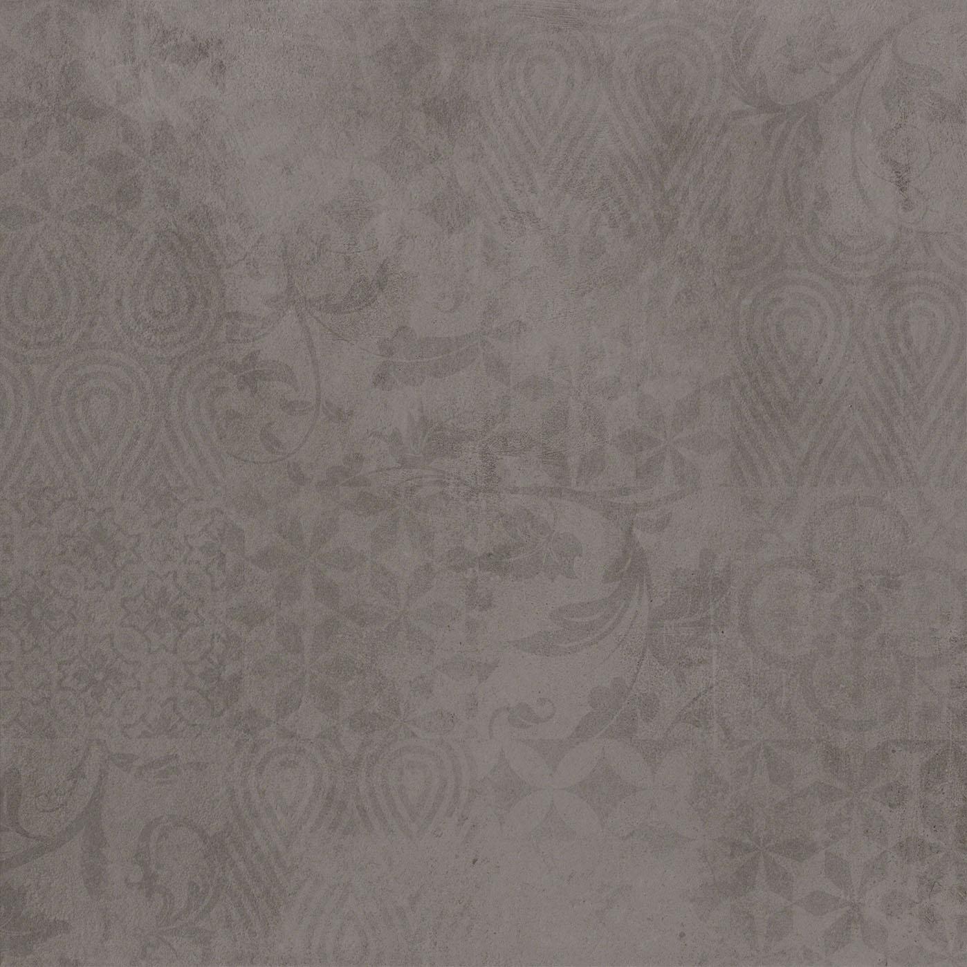 dunkel grau Betonfliesen mit Dekor, dark grey concrete effect tile with decor 60x60