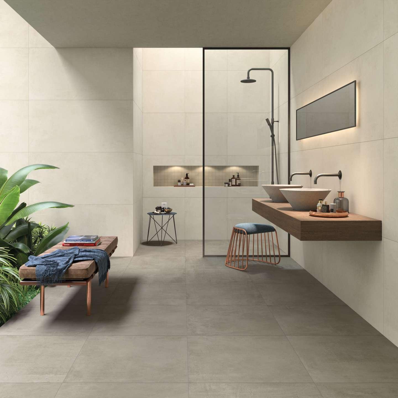 Grau Betonfliesen im Bad, grey concrete effect tiles in the bathroom