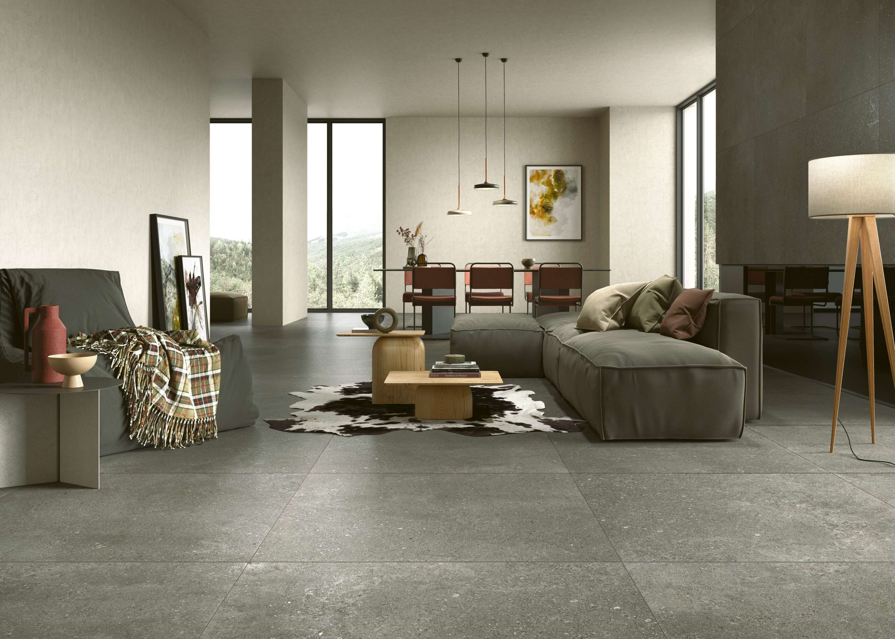graue Steinoptik Fliesen im Wohnzimmer, grey sone effect tiles in the living room